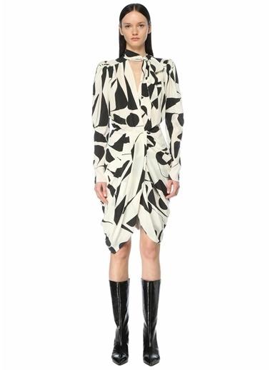 Etoile Isabel Marant Isabel Marant   Desenli Fularlı Midi İpek Elbise 101623701 Siyah